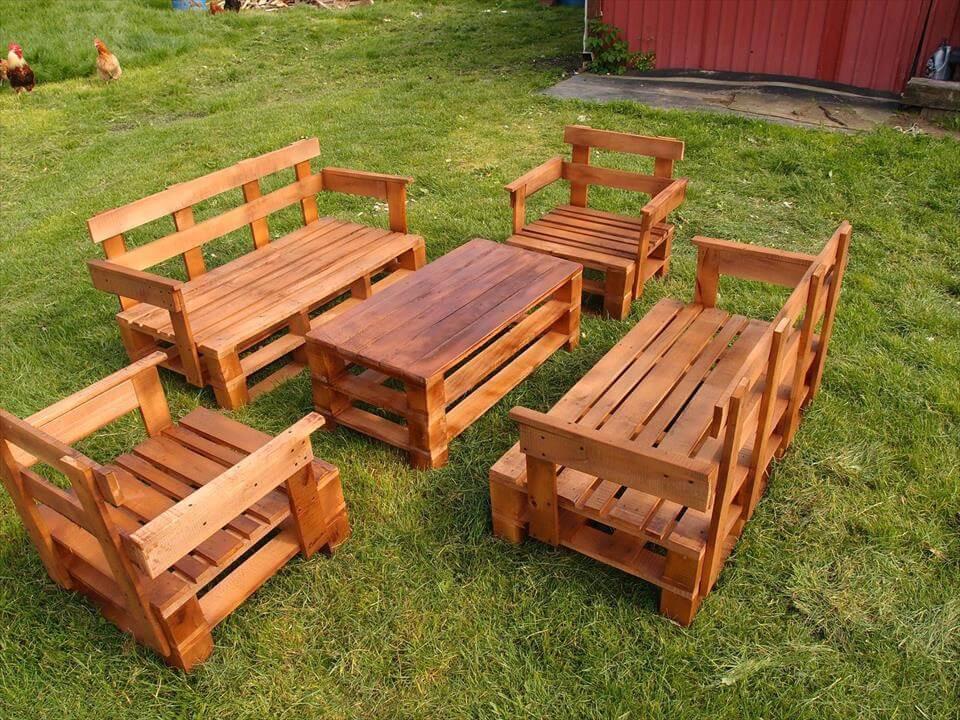 Pallet Backyard Furniture  Upcycled Pallet Garden Furniture Set