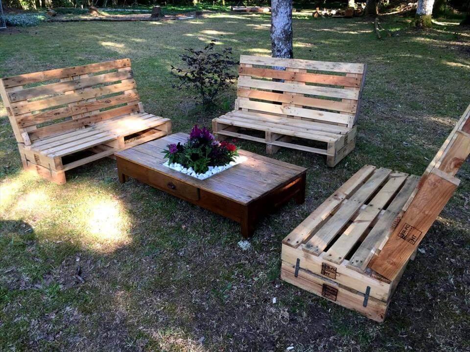 Pallet Backyard Furniture  Gorgeous Pallet Outdoor Furniture Set