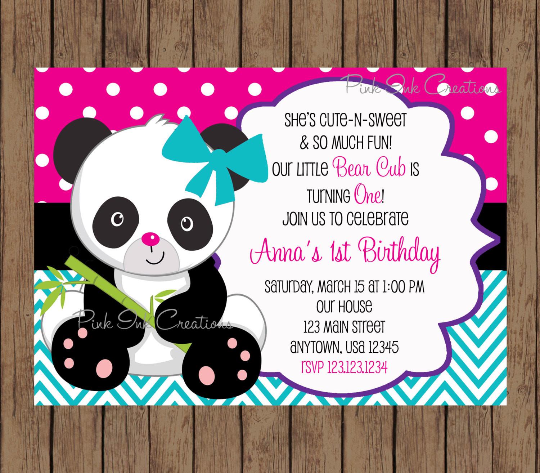 Panda Birthday Invitations  Panda Bear Birthday Invitation Panda Invitation Panda Baby