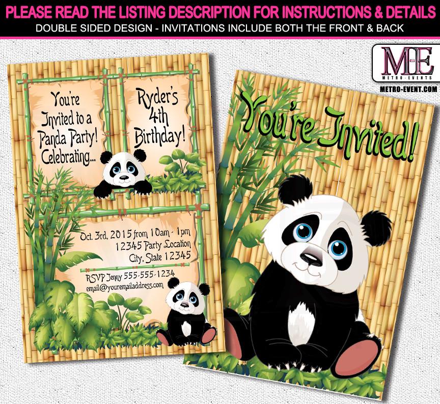 Panda Birthday Invitations  Panda Birthday Invitations
