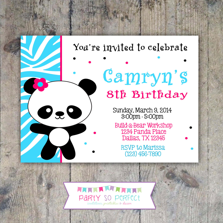 Panda Birthday Invitations  PANDA Birthday Party 5x7 Invitation Girl PRINTABLE