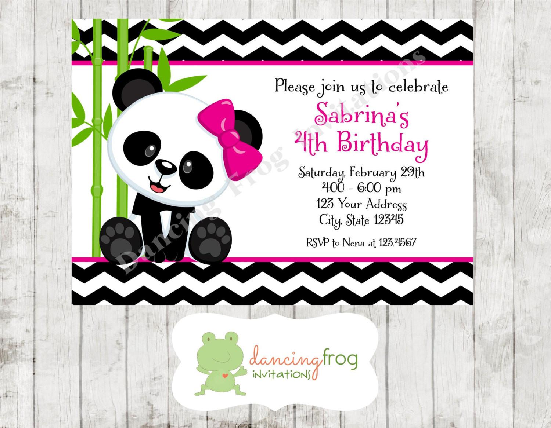 Panda Birthday Invitations  Panda Bear Birthday Invitations Printed Panda Bear Birthday