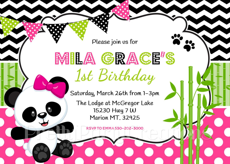 Panda Birthday Invitations  PANDA birthday invitation You Print
