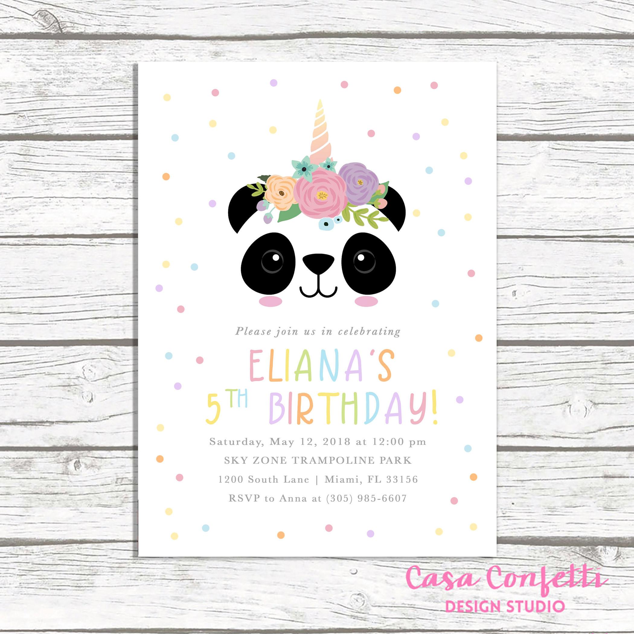 Panda Birthday Invitations  Panda Invitation Panda Birthday Invitation Panda Face