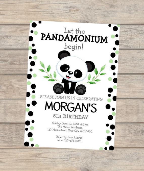 Panda Birthday Invitations  Panda Birthday Invitation Panda Bear Invitation Panda