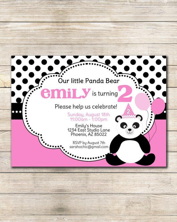 Panda Birthday Invitations  Panda Birthday Party Invitation sarah O chic pink black