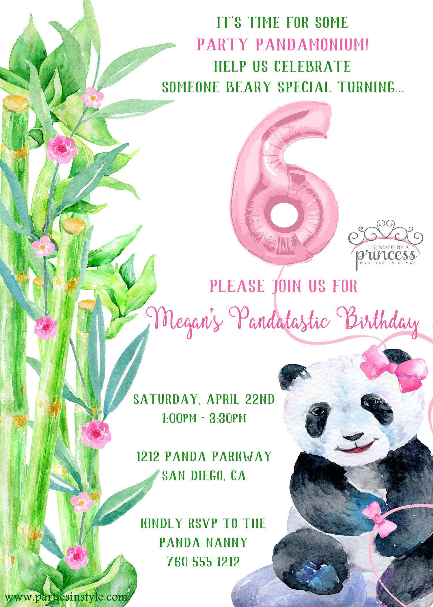 Panda Birthday Invitations  Panda Party Printable Invitation