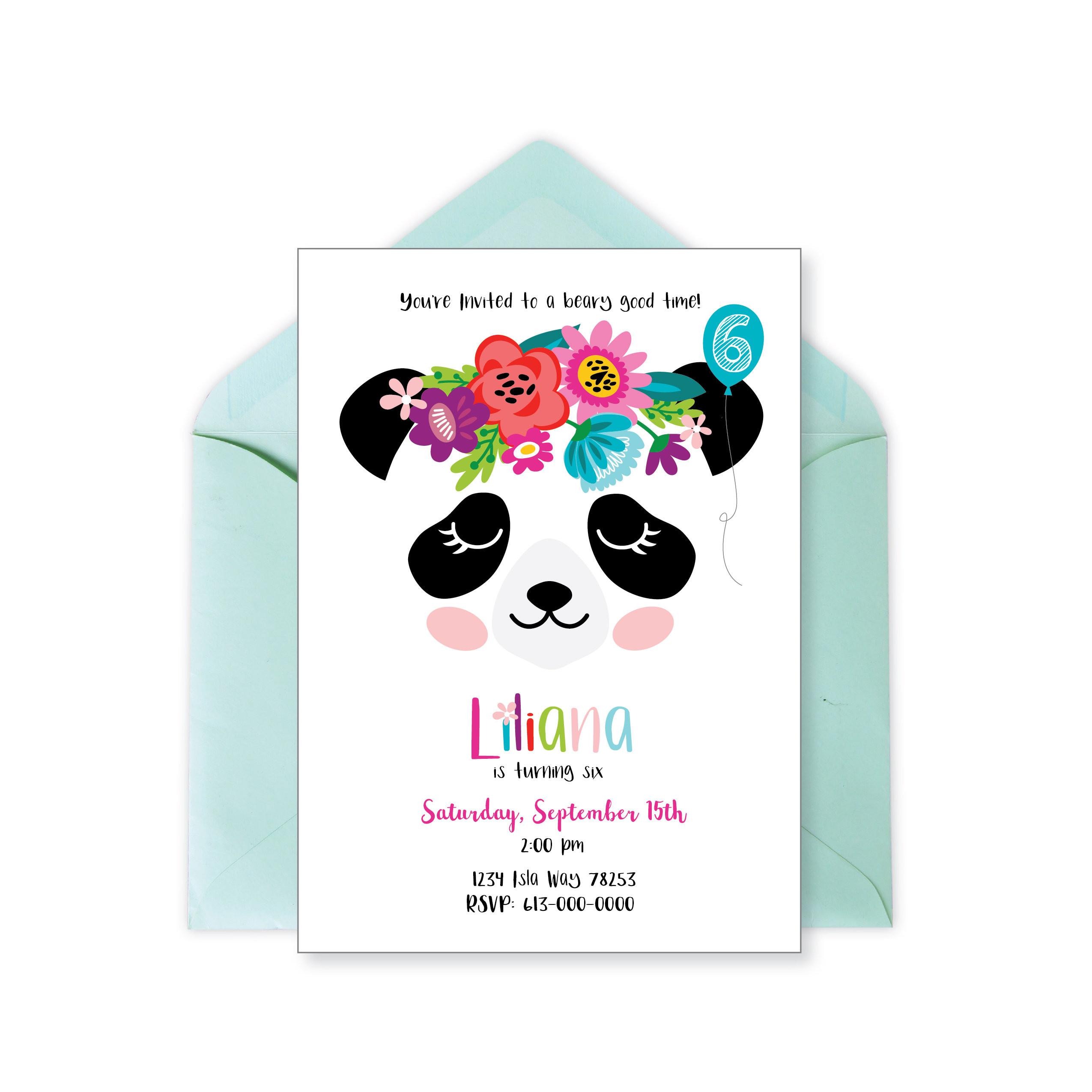 Panda Birthday Invitations  Panda Invitation Panda Birthday Party Panda Face