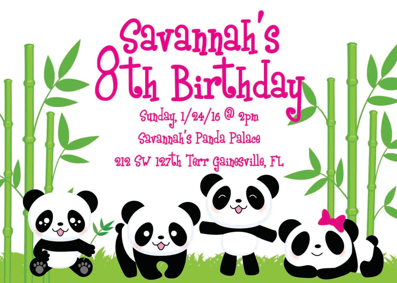 Panda Birthday Invitations  Panda Party Birthday Invitation