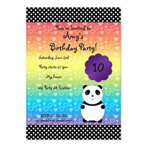 Panda Birthday Invitations  Cute panda bear birthday invitation