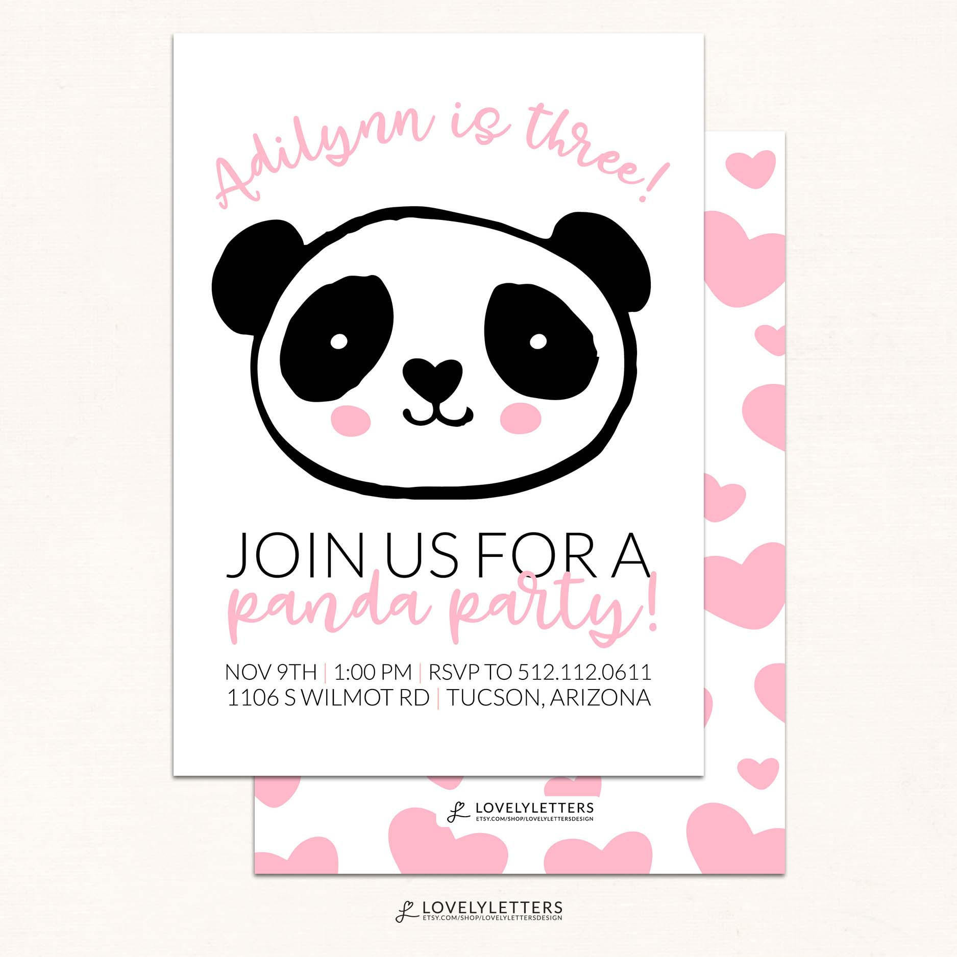 Panda Birthday Invitations  Panda Birthday Invitation DIGITAL Panda Party