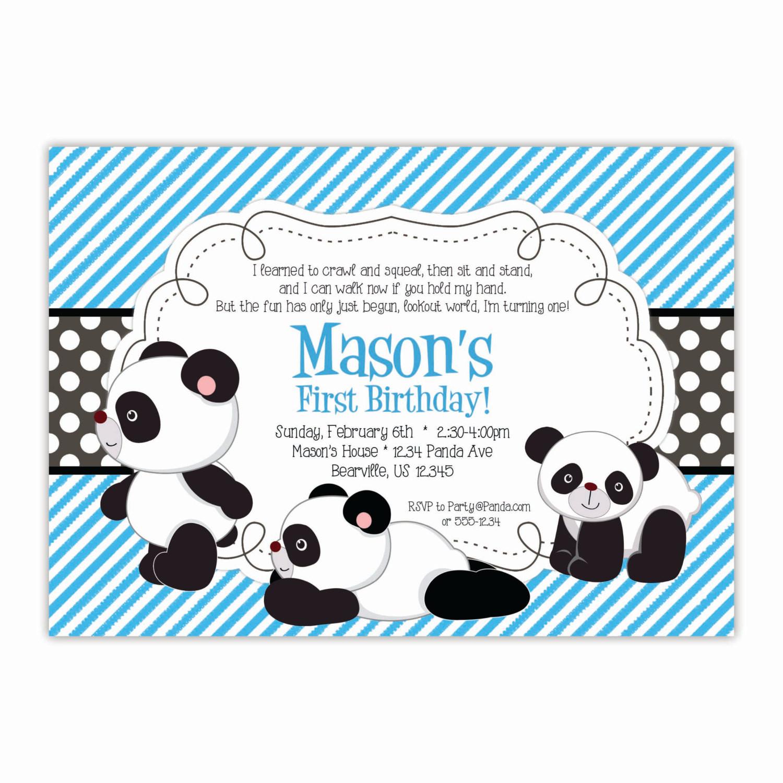 Panda Birthday Invitations  Panda Invitation Blue Stripes Black Polka Dots Baby Panda