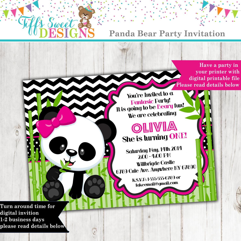 Panda Birthday Invitations  Panda Bear Invitation Panda Invitation Birthday Invitation