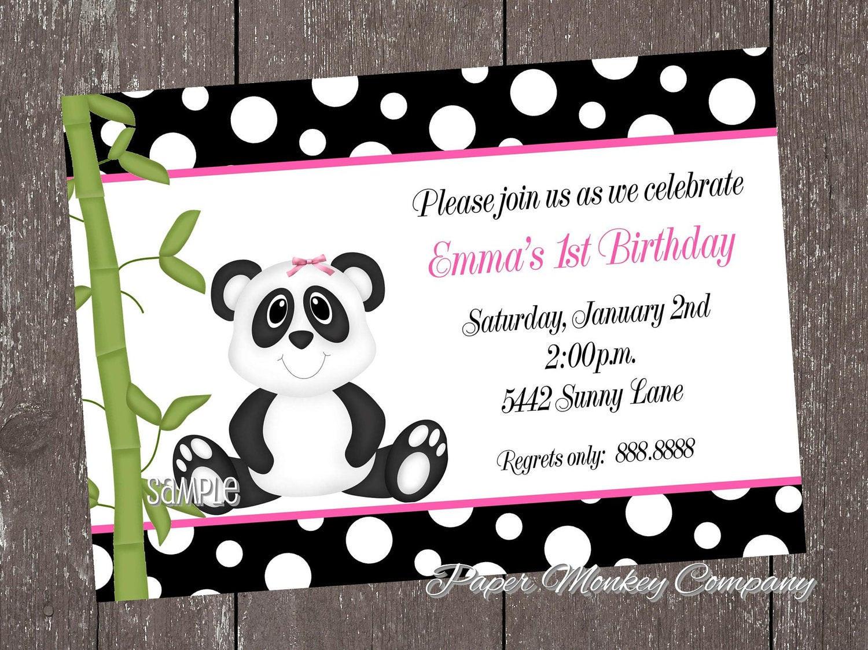 Panda Birthday Invitations  Panda Bear Birthday Invitations for boy or girl