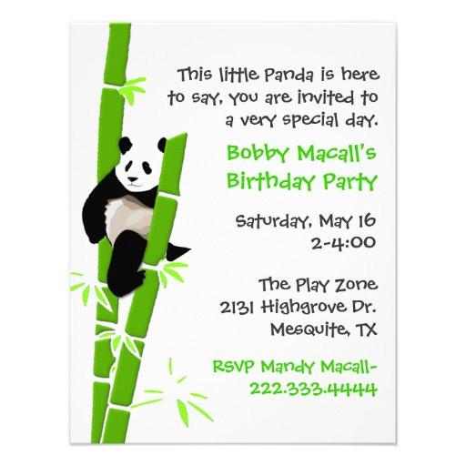 "Panda Birthday Invitations  Panda Birthday Invitation 4 25"" X 5 5"" Invitation Card"