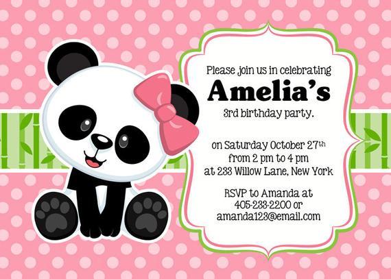 Panda Birthday Invitations  Panda Party Invitation Panda Invitation Panda Party Invite