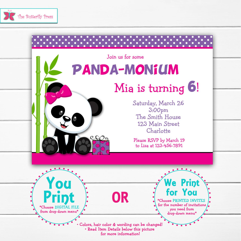 Panda Birthday Invitations  Girls Panda Birthday Party Invitation Panda Bear Birthday
