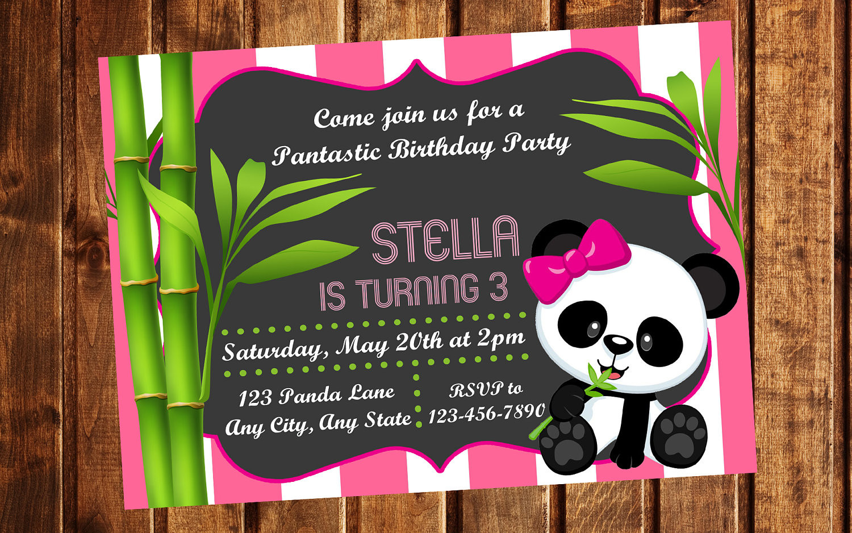 Panda Birthday Invitations  Panda Invitation Panda Birthday Party Panda Birthday