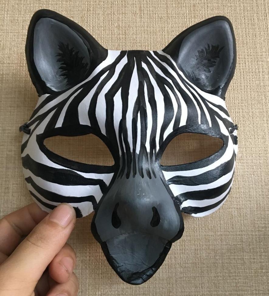 Paper Mache Mask DIY  New Quality Handmade DIY Mask Halloween Cute Zebra Mask