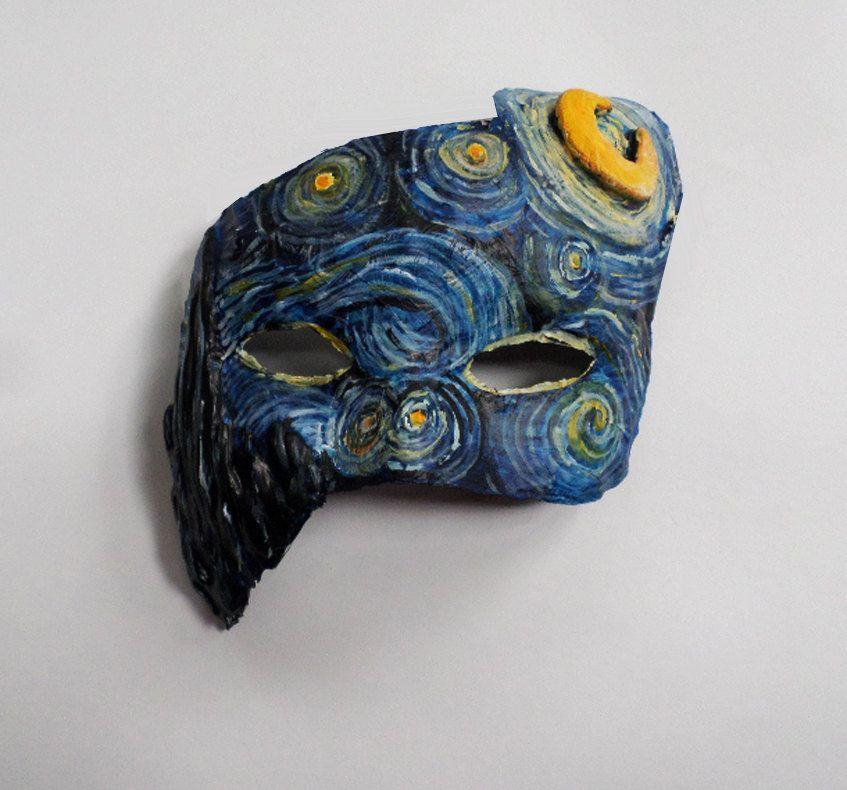Paper Mache Mask DIY  Starry Night Mask painting Van Gough unique mask paper