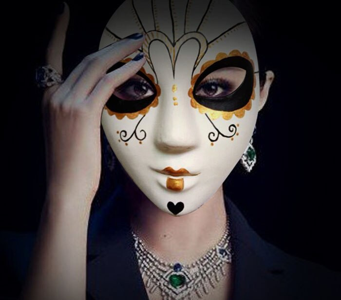 Paper Mache Mask DIY  New Quality Handmade DIY Mask Halloween Gold Fairy Mask