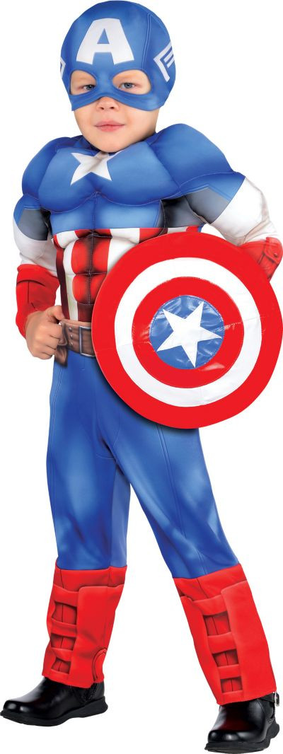 Party City Costumes Kids Boys  Toddler Boys Captain America Muscle Costume Classic