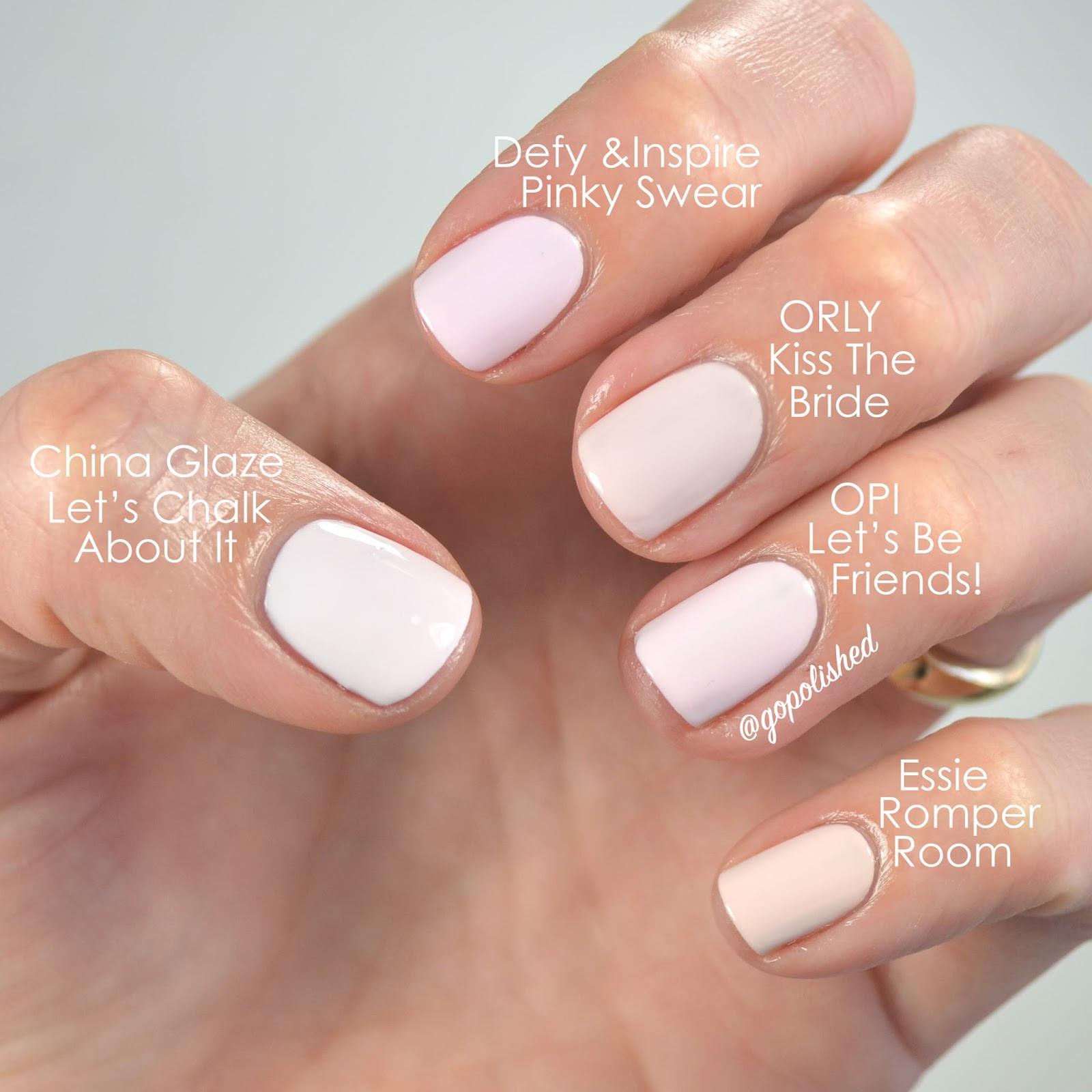 Pink Nail Colors  Go Polished Pale Pink Polish Showdown