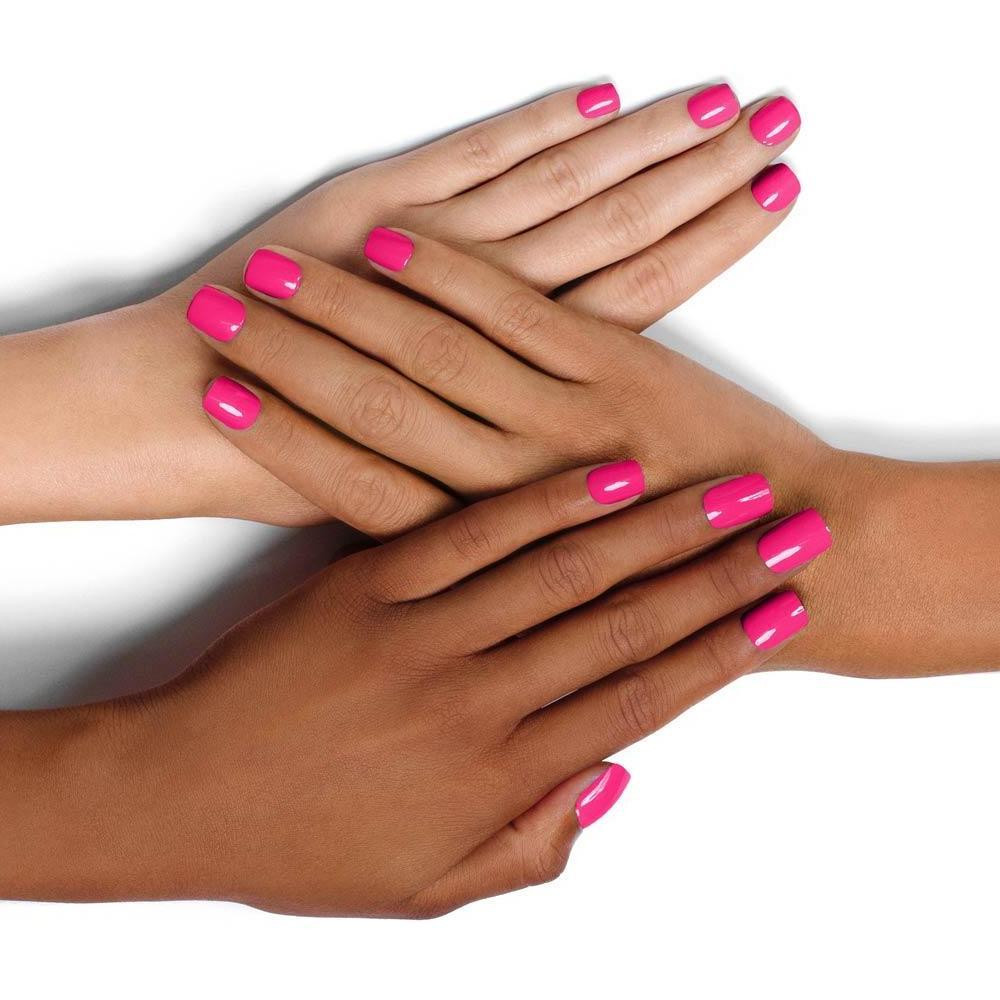 Pink Nail Colors  MIA Hot pink nail polish with a subtle blue pearl effect