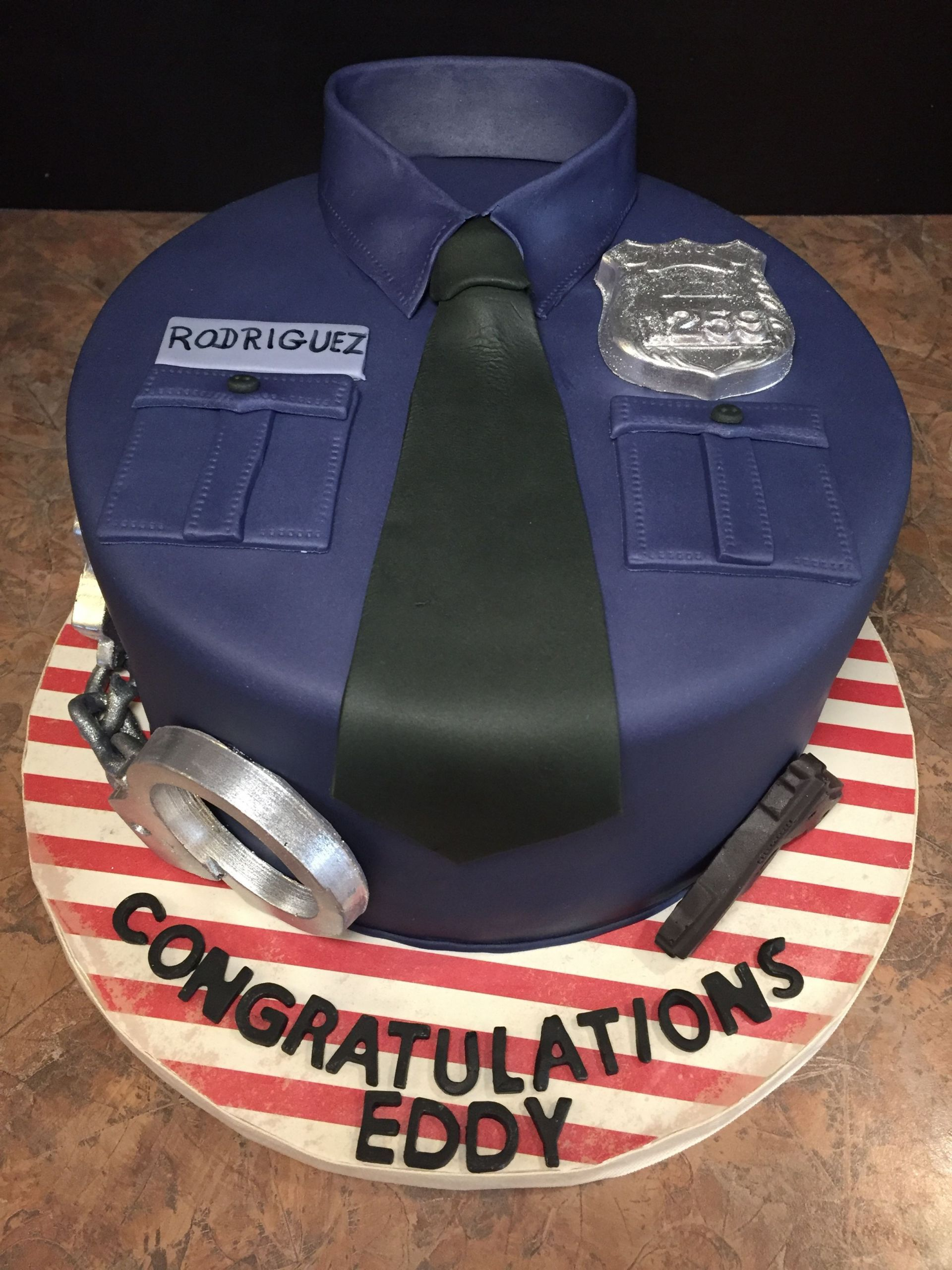 Police Academy Graduation Gift Ideas  Eddy s Police Academy Graduation White cake with