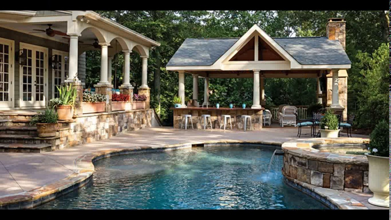 Pool With Outdoor Kitchen  Backyard designs with pool and outdoor kitchen