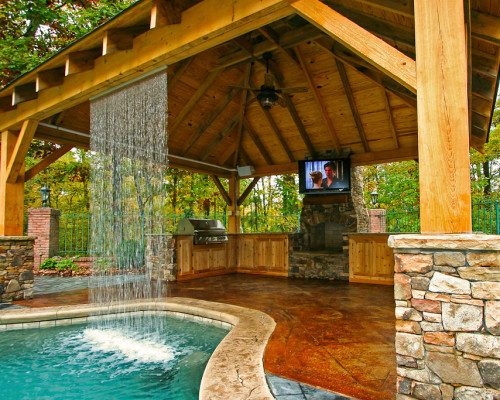 Pool With Outdoor Kitchen  Outdoor Kitchens Mid State Pools