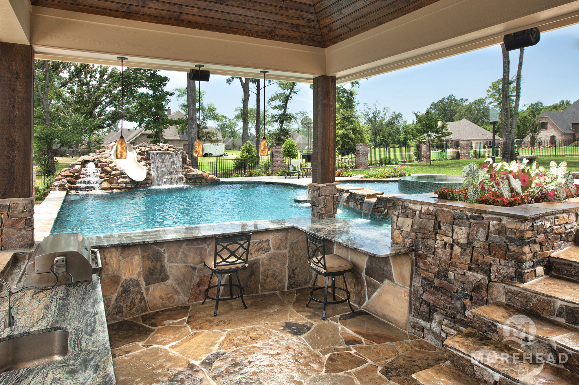 Pool With Outdoor Kitchen  Outdoor Kitchens in Shreveport & Bossier City LA