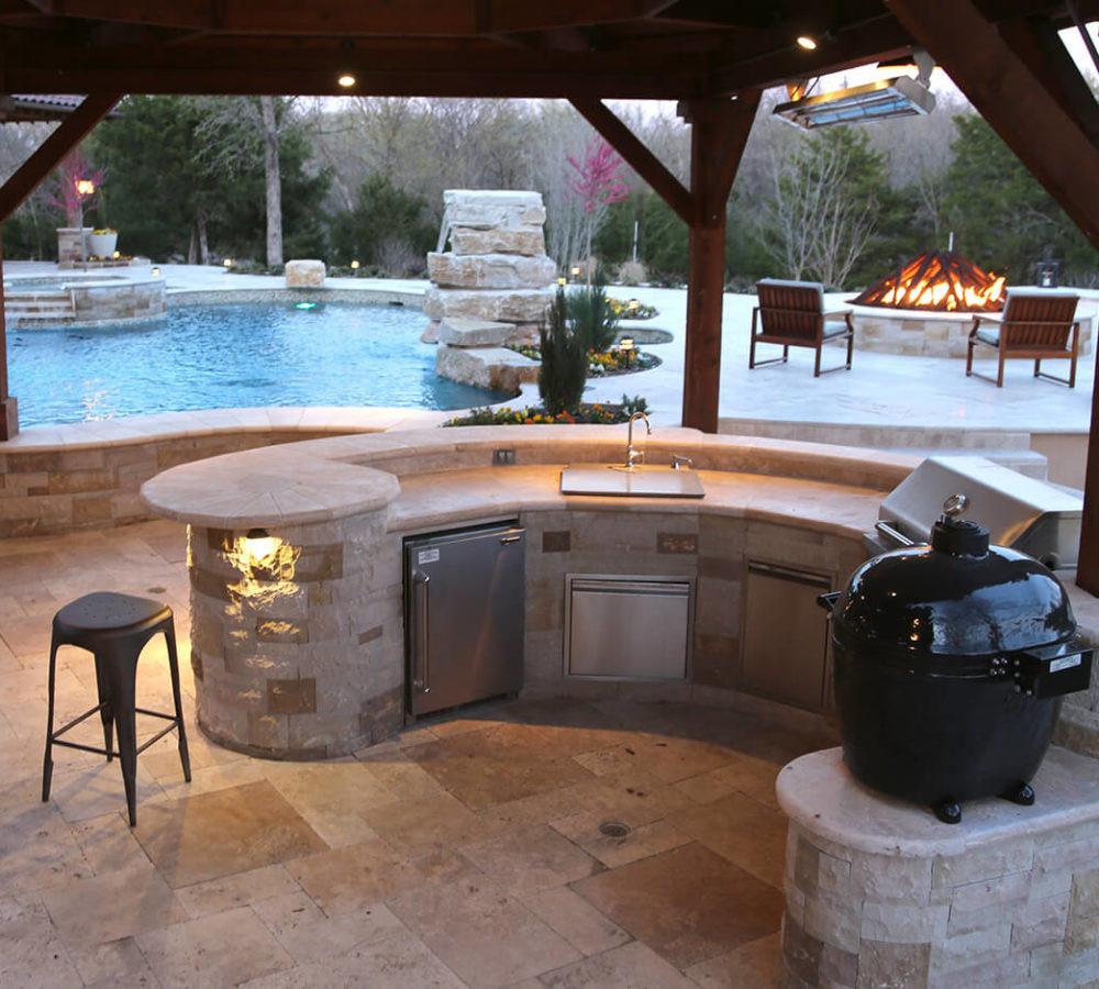 Pool With Outdoor Kitchen  Outdoor Kitchen Frisco TX