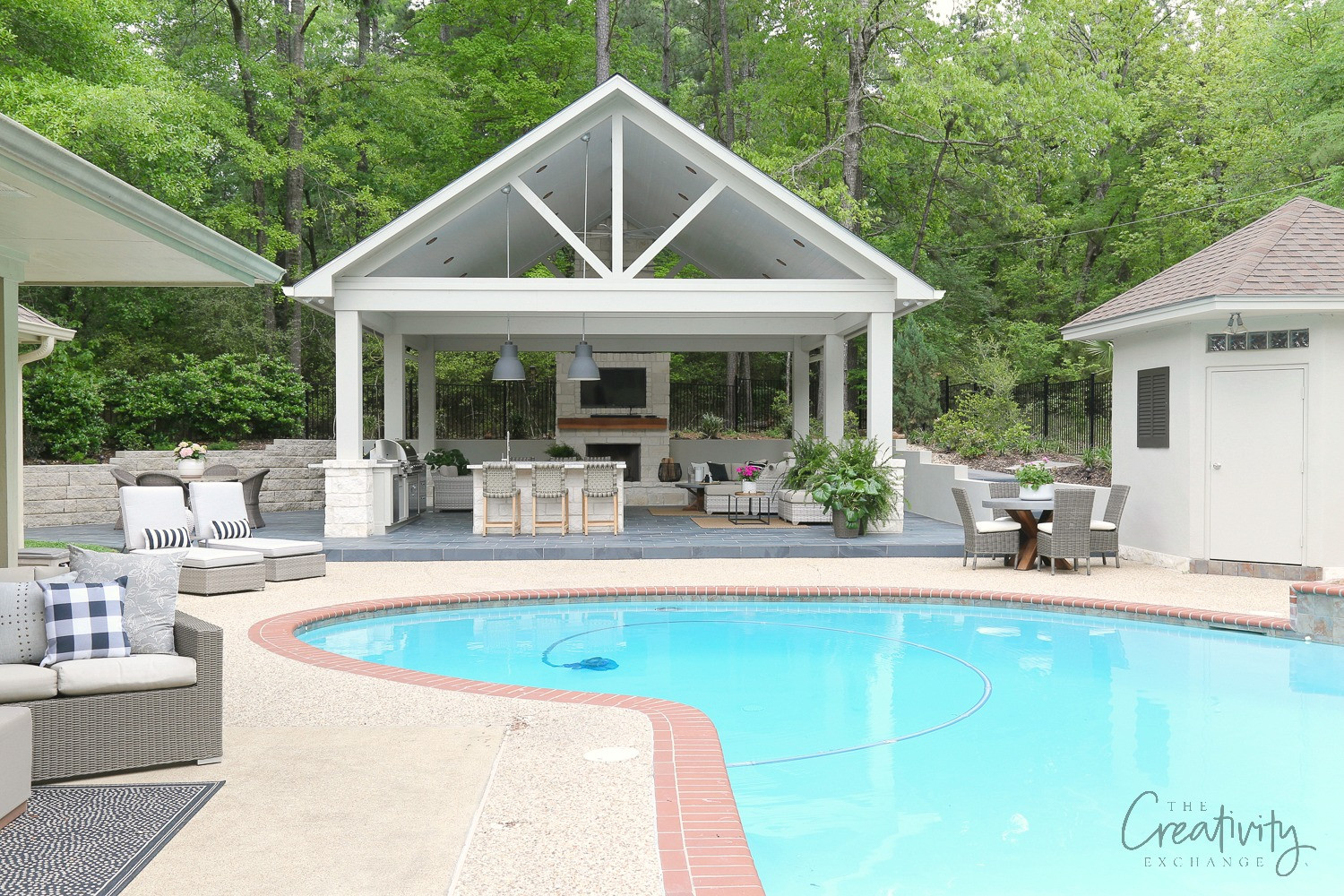 Pool With Outdoor Kitchen  Outdoor Kitchen and Pool House Project Reveal