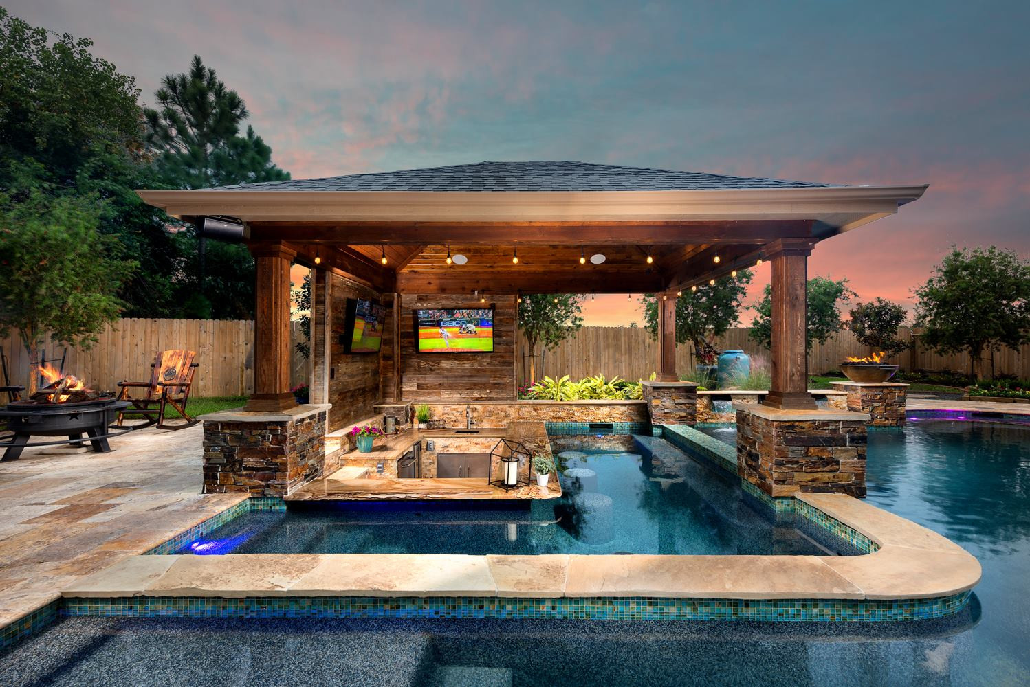 Pool With Outdoor Kitchen  Outdoor Living s Houston