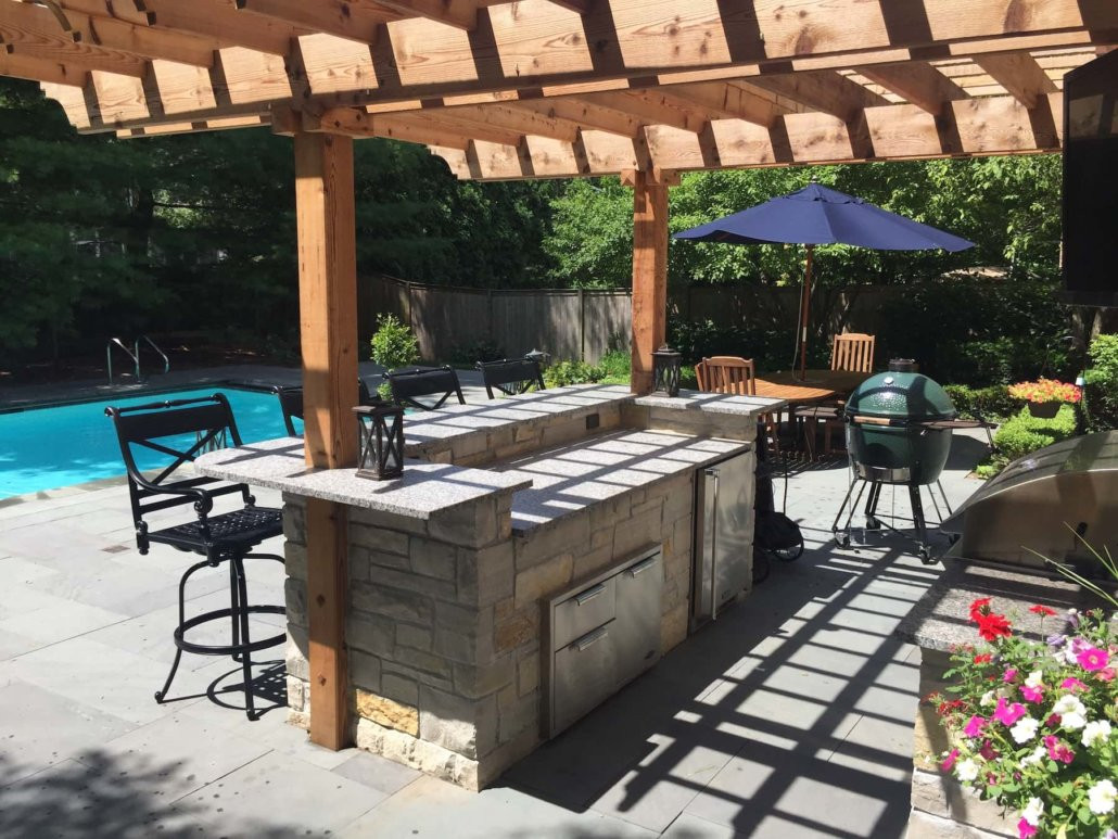 Pool With Outdoor Kitchen  Pergola Outdoor Kitchen & Pool Decking Northbrook IL