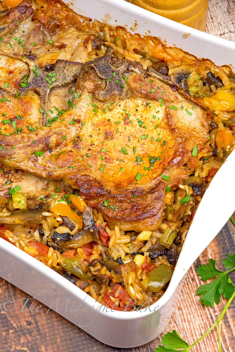 Pork Chop Side Dishes Recipes  Pork Chops with Loaded Ve able Rice The Midnight Baker