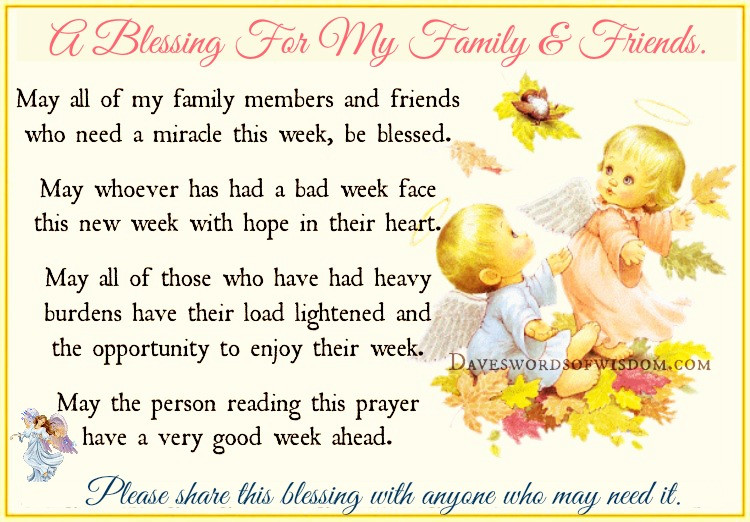Prayer Quotes For Family And Friends  Daveswordsofwisdom A Blessing for my Family & Friends