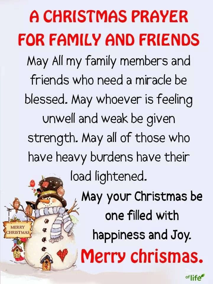 Prayer Quotes For Family And Friends  A Christmas Prayer For Family And Friends s