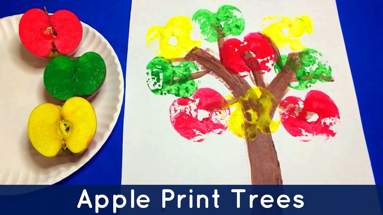 Preschool Art Project  Apple Print Trees Preschool and Kindergarten Art Project
