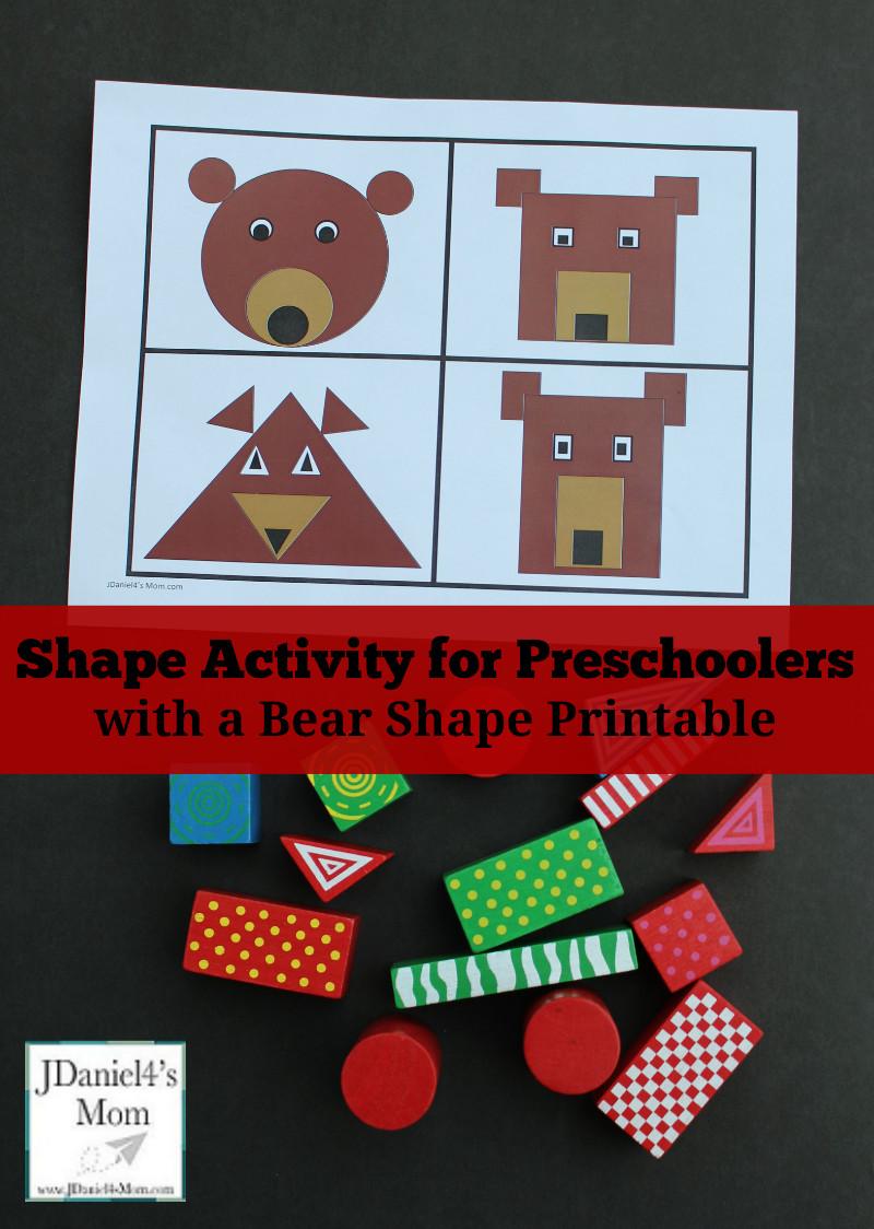 Preschool Craft Activities  Shape Activity for Preschoolers with a Bear Shape Printable