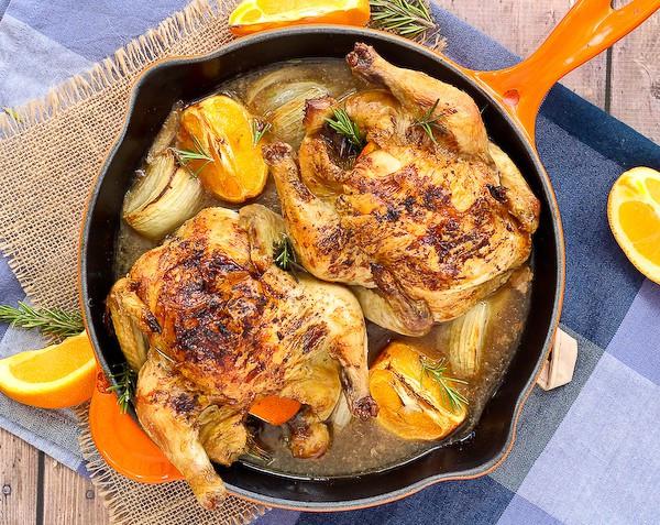 Recipes For Cornish Game Hens  cornish hens with sherry rosemary orange 600 5 of 6