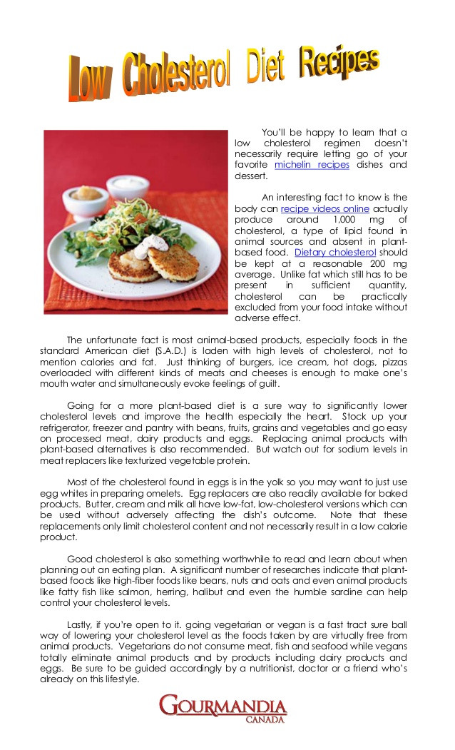 Recipes For Low Cholesterol Diet  Low cholesterol t recipes