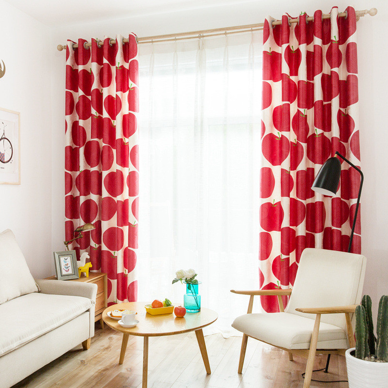 Red Curtains For Living Room  Bright Red And White Apple Bold Modern Curtains For Living