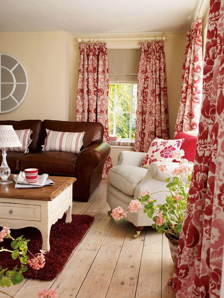 Red Curtains For Living Room  Love the fullness of these curtains would hang them