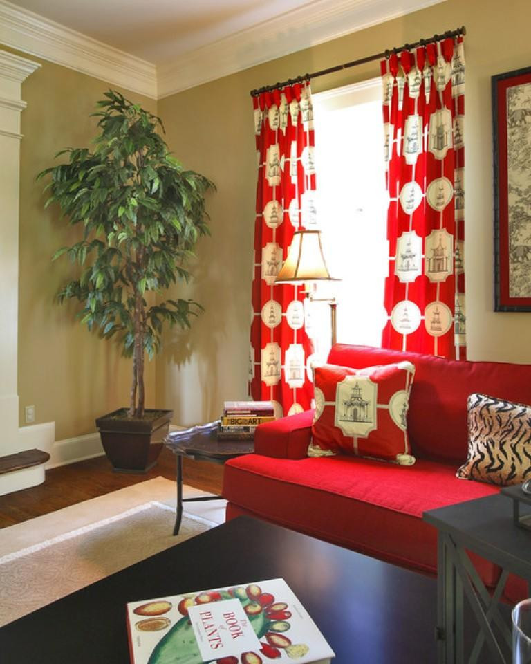 Red Curtains For Living Room  15 Lively and Colorful Curtain Ideas for the Living Room