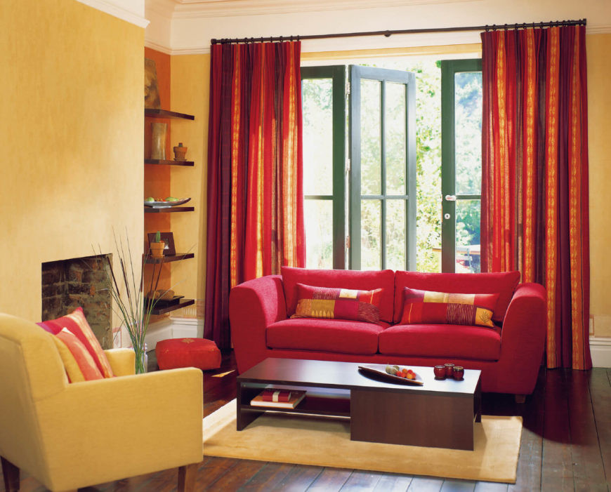 Red Curtains For Living Room  53 Living Rooms with Curtains and Drapes Eclectic Variety