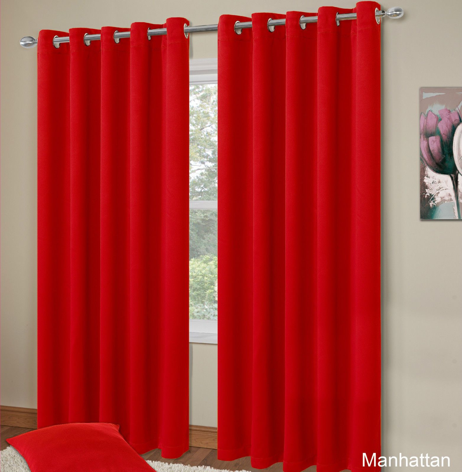 Red Curtains For Living Room  PLAIN RED COLOUR THERMAL BLACKOUT BEDROOM LIVINGROOM