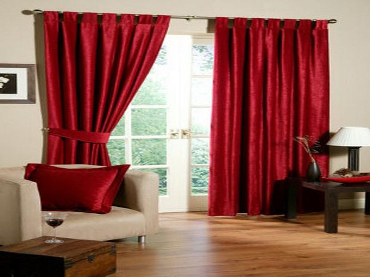 Red Curtains For Living Room  windows curtins decor