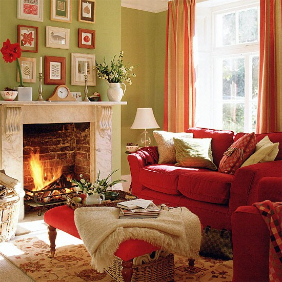 Red Curtains For Living Room  Green living room with red sofa stool and curtains
